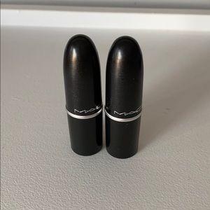 MAC mini lipsticks - Velvet Teddy and All Fired Up